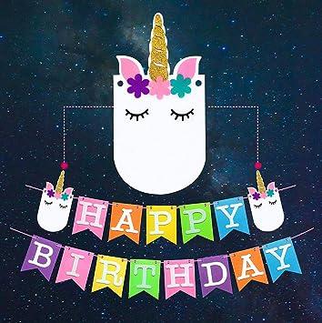 Unicorn Happy Birthday Party Banner
