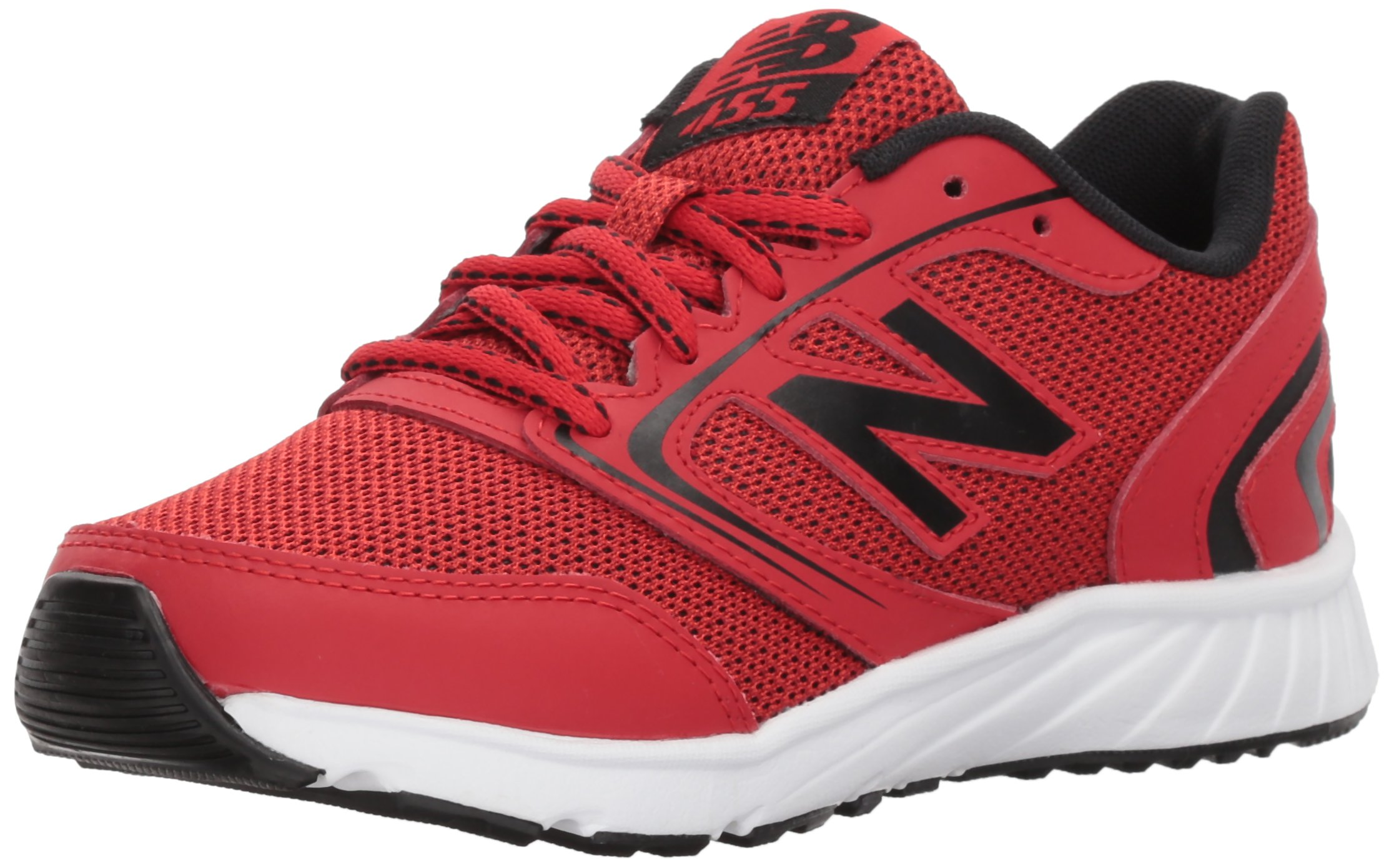 New Balance Boy's 455v1 Running Shoe, Team Red/Black, 1 M US Little Kid