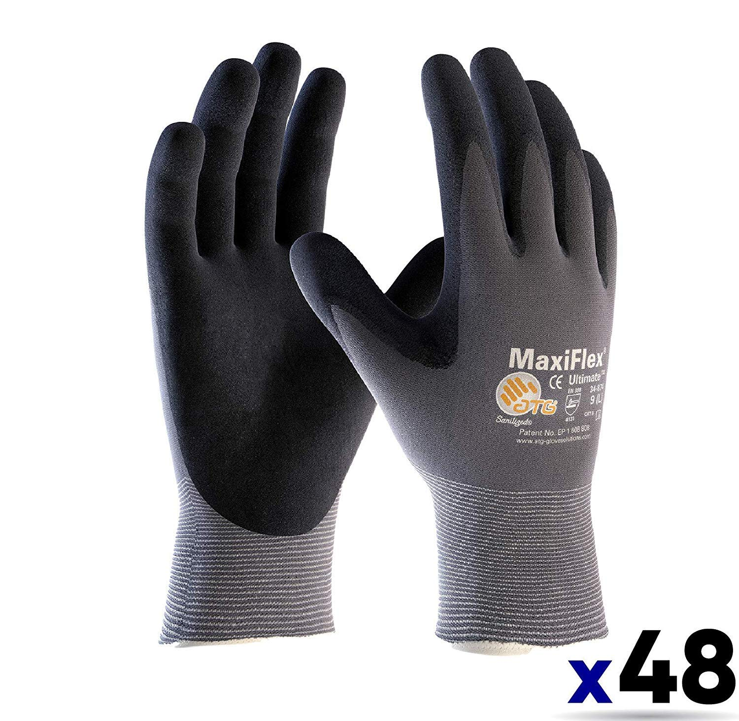 MaxiFlex Ultimate ATG 34-874 EXTRA LARGE / 34-874 Seamless Knit Nylon/Lycra Glove with Nitrile Coated icro-Foam Grip on Palm and Fingers (48 PACK)