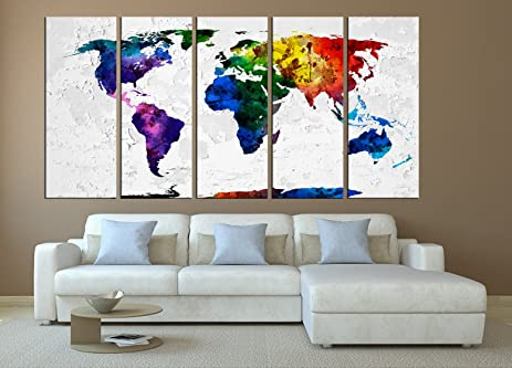 Amazon large world map canvas print watercolor canvas print large world map canvas print watercolor canvas print ready to hang extra large gumiabroncs Image collections