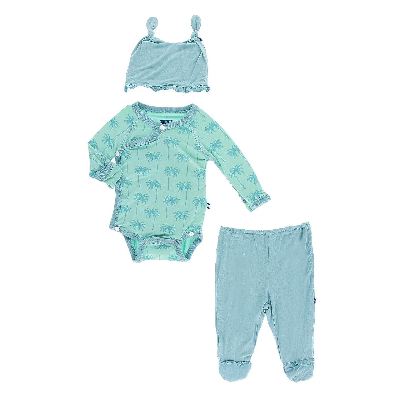 Glass Palm Trees - Newborn Ruffle Kimono Newborn Gift Set with Elephant Gift Box