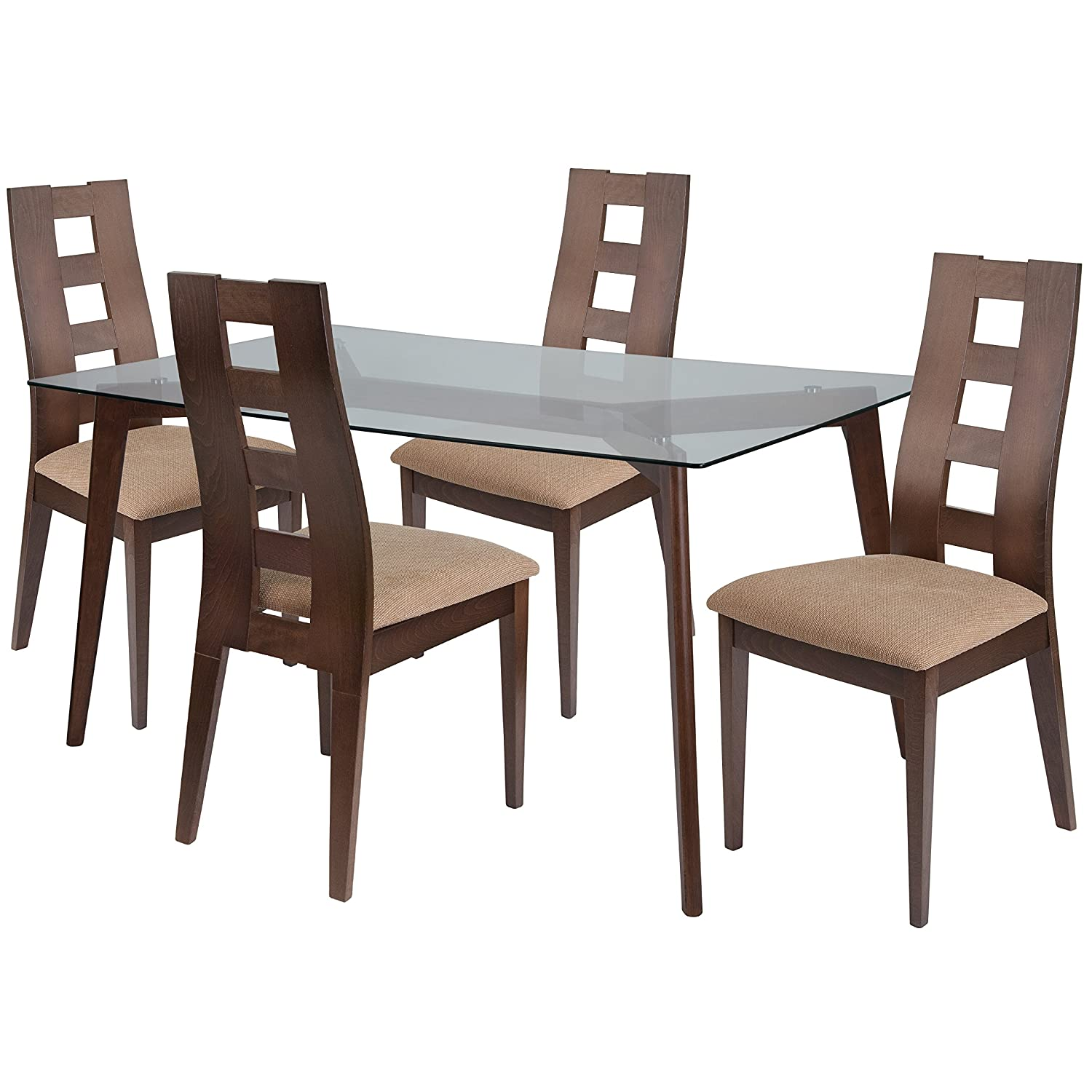 Amazon com flash furniture ross 5 piece walnut wood dining table set with glass top and window pane back wood dining chairs padded seats