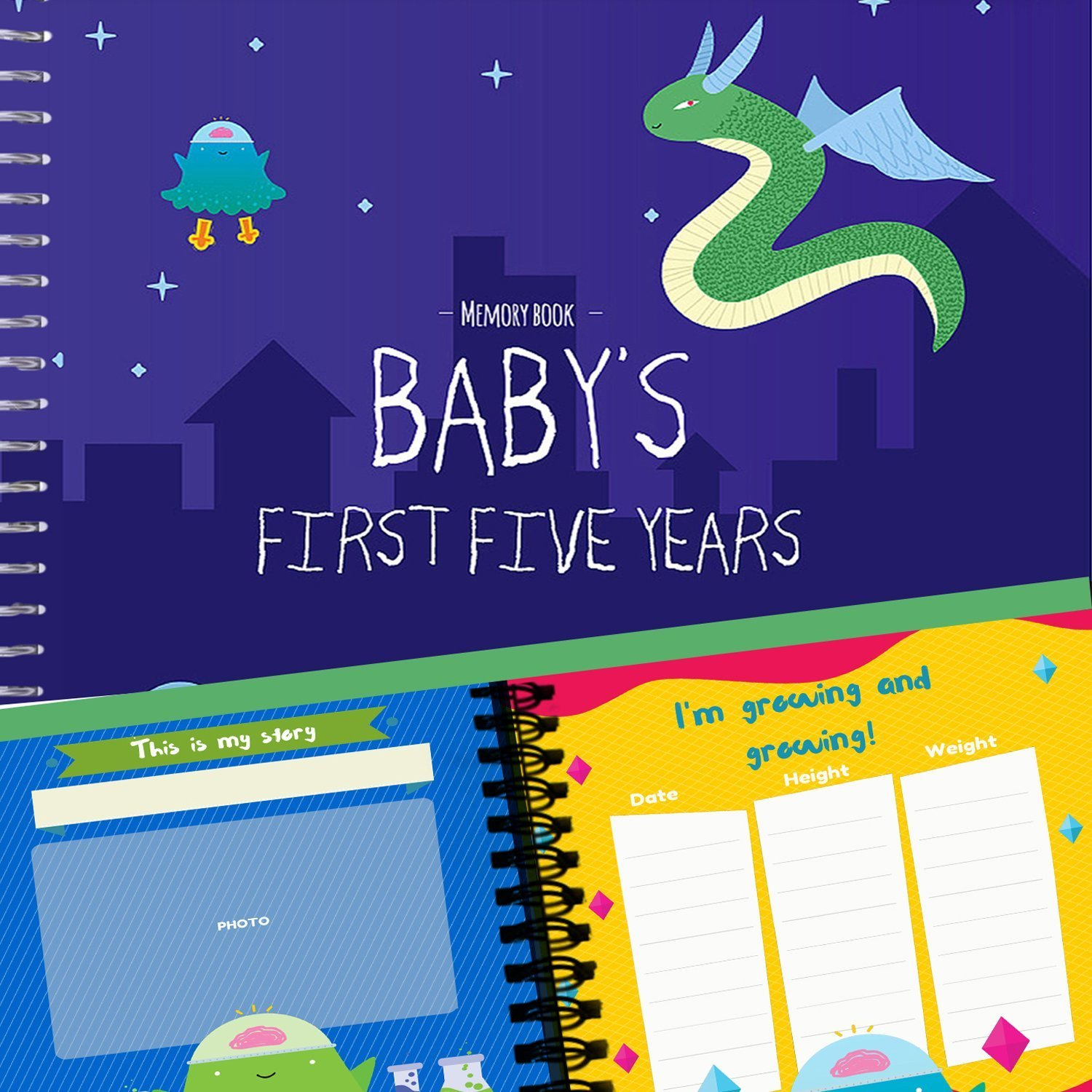 Baby Boy's First Five Years Memory Book | 12 Stickers Included | 5 year album with stickers and frames to add your pictures in a gorgeous way | Monsters Edition Unconditional Rosie