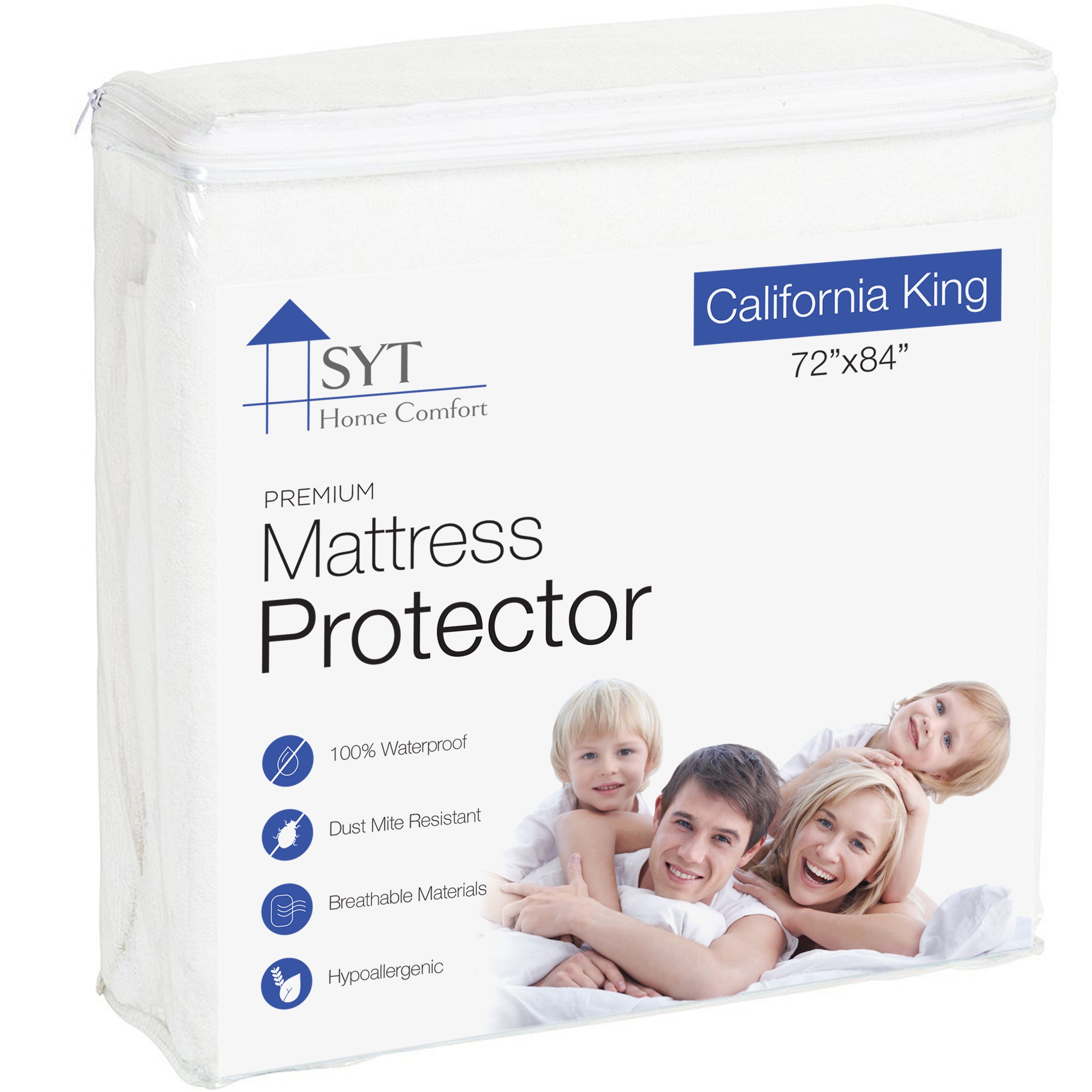 Mattress Protector By SYT Home Comfort, Waterproof, Hypoallergenic, Silent, Multiple Sizes, Cotten Terry (California King)