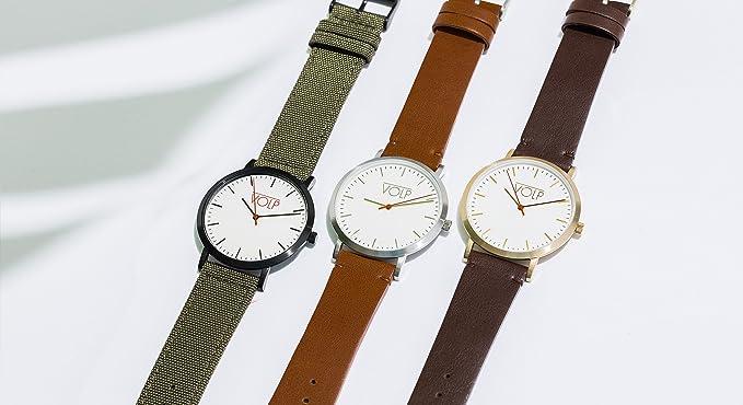 Reloj Vegano Unisex de Pulsera. VOLP Negro/Camel, de Acero Inoxidable (42 mm). Correas Intercambiables de Piel Vegana.: Amazon.es: Relojes
