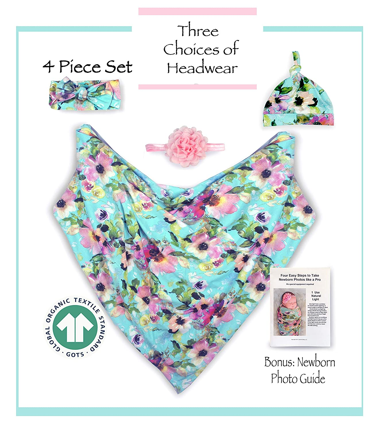2 Headbands and Matching Hat for Photos and Everyday Use Bonus How to Take Baby Photos Like a Pro Guide Organic Cotton 4 Piece Set Aqua Floral. 1 Large 40x40 Swaddle Blanket