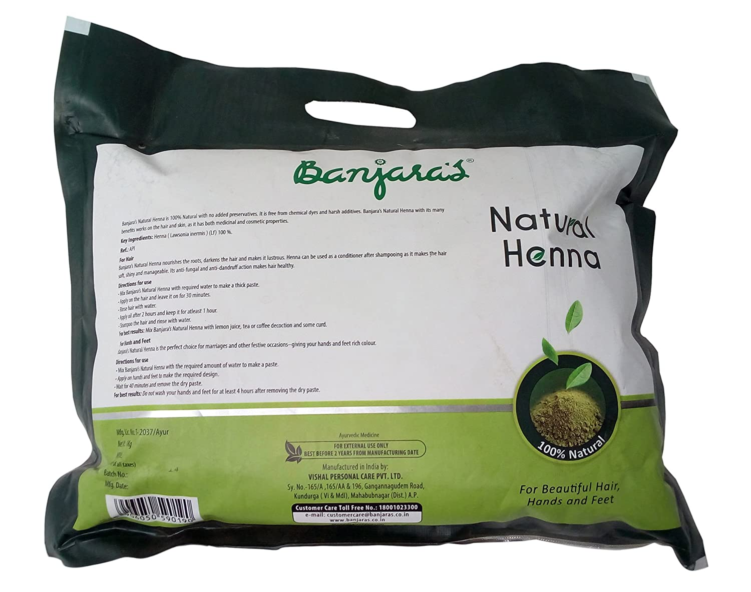 Buy Banjara's Natural Henna Powder, 1kg Pack Online at Low