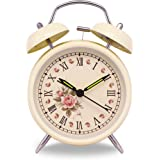 "Slash 4"" Vintage Retro Old Fashioned Quiet Non-ticking Sweep Second Hand, Quartz Analog Twin Bell Clock, Battery Operated, Loud Alarm, Nightlight Function (Beige Case - Roses)"
