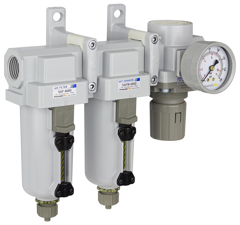 "PneumaticPlus SAU430-N06G-MEP Three Stage Air Drying System Particulate Air Filter, Coalescing Filter, Air Pressure Regulator Combo 3/4"" NPT - Metal Bowl, Manual Drain, Bracket, Gauge"