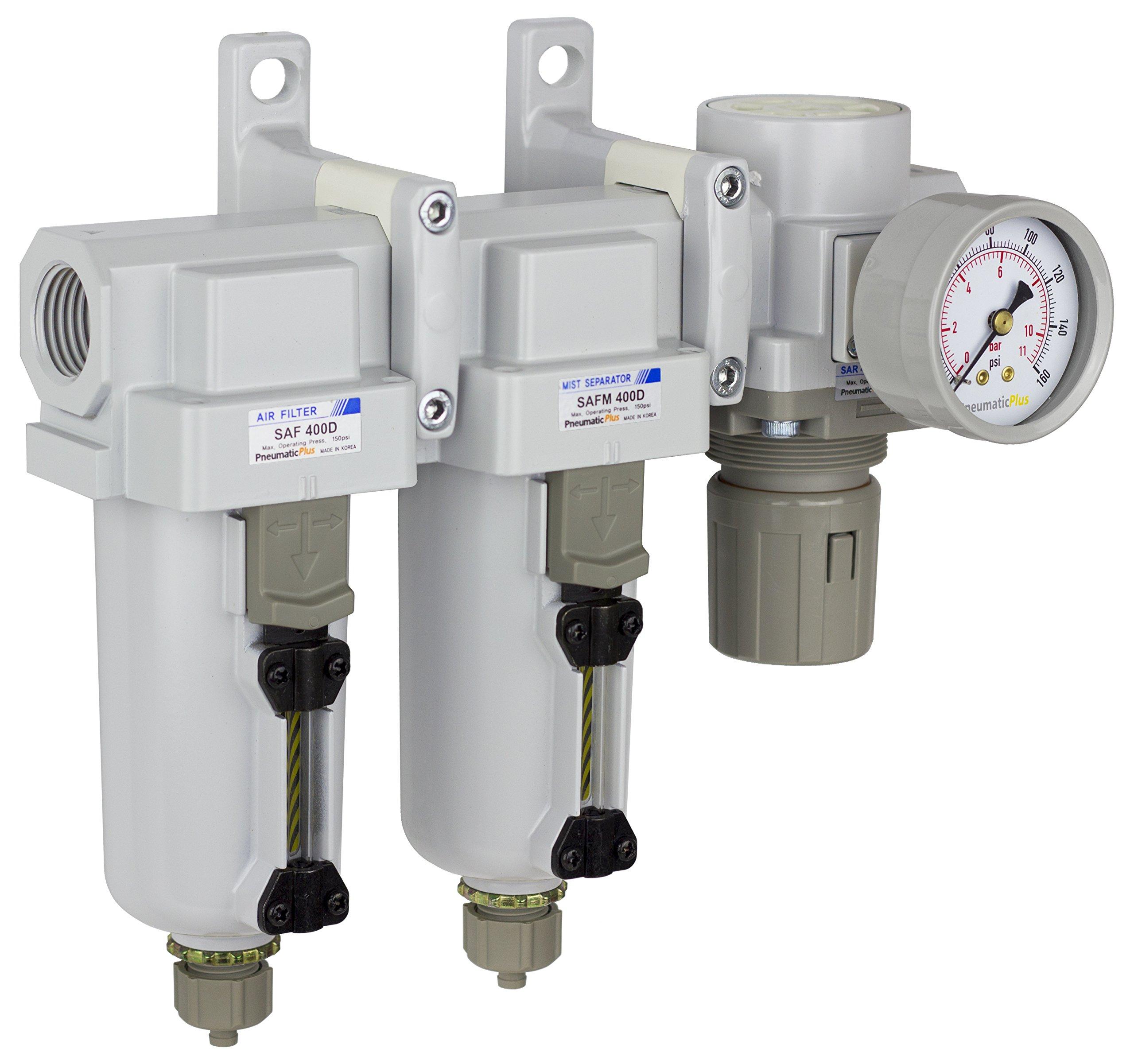 PneumaticPlus SAU430-N06G-MEP Three Stage Air Drying System Particulate Air Filter, Coalescing Filter, Air Pressure Regulator Combo 3/4'' NPT - Metal Bowl, Manual Drain, Bracket, Gauge by PneumaticPlus