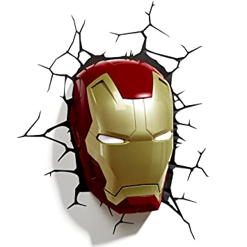 marvel comics 3d iron man masque applique murale