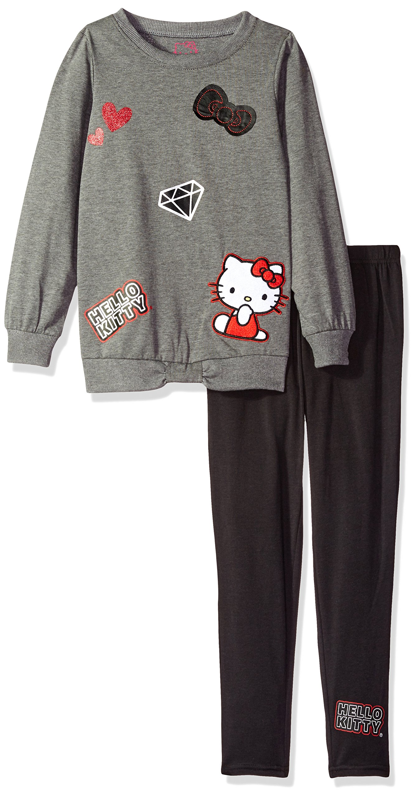 Hello Kitty Little Girls' 2 Piece Long Sleeve and Legging Set, Gray1, 6