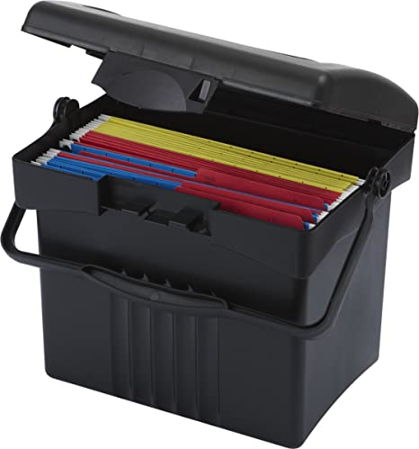 Superbe Storex Economy Portable File Box For Letter Size Hanging Files, Black  (61502U01C)