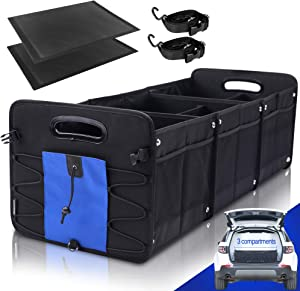 Car Trunk Organizer for SUV (3 Large Compartments) Collapsible Portable Non-Slip Bottom with Tie Down Straps Chrismas Gifts (Blue)