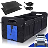 GEEDAR Large Trunk Organizer Car Organizers and Storage for SUV 3 Compartments Collapsible Portable Non-Slip Bottom Tie Down