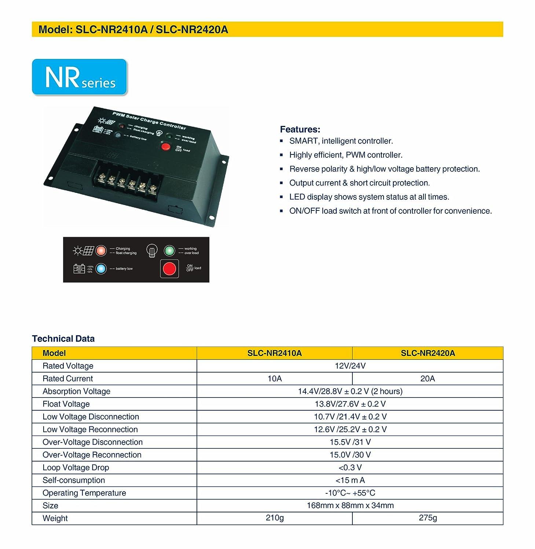 10A Solarland 10a 12//24v PWM Charge Controller Regulator SLC-NR2410A