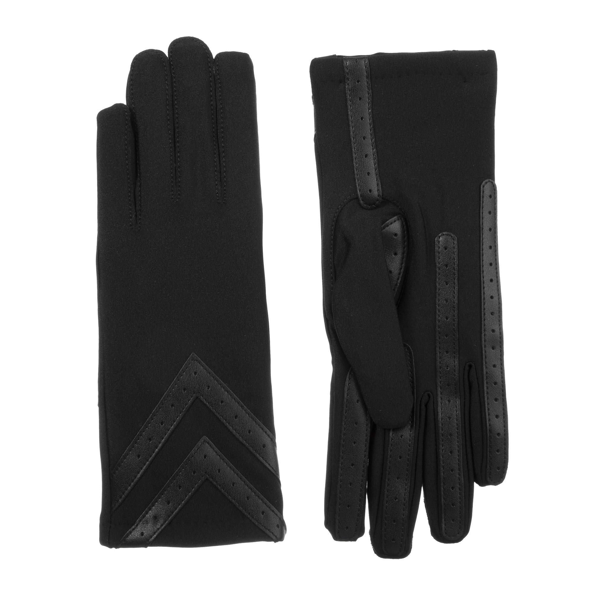 ISOTONER Women's Fleece-Lined Gloves with Chevron Applique and Smart Touch, smartDRI Solid Black, Small/Medium by ISOTONER