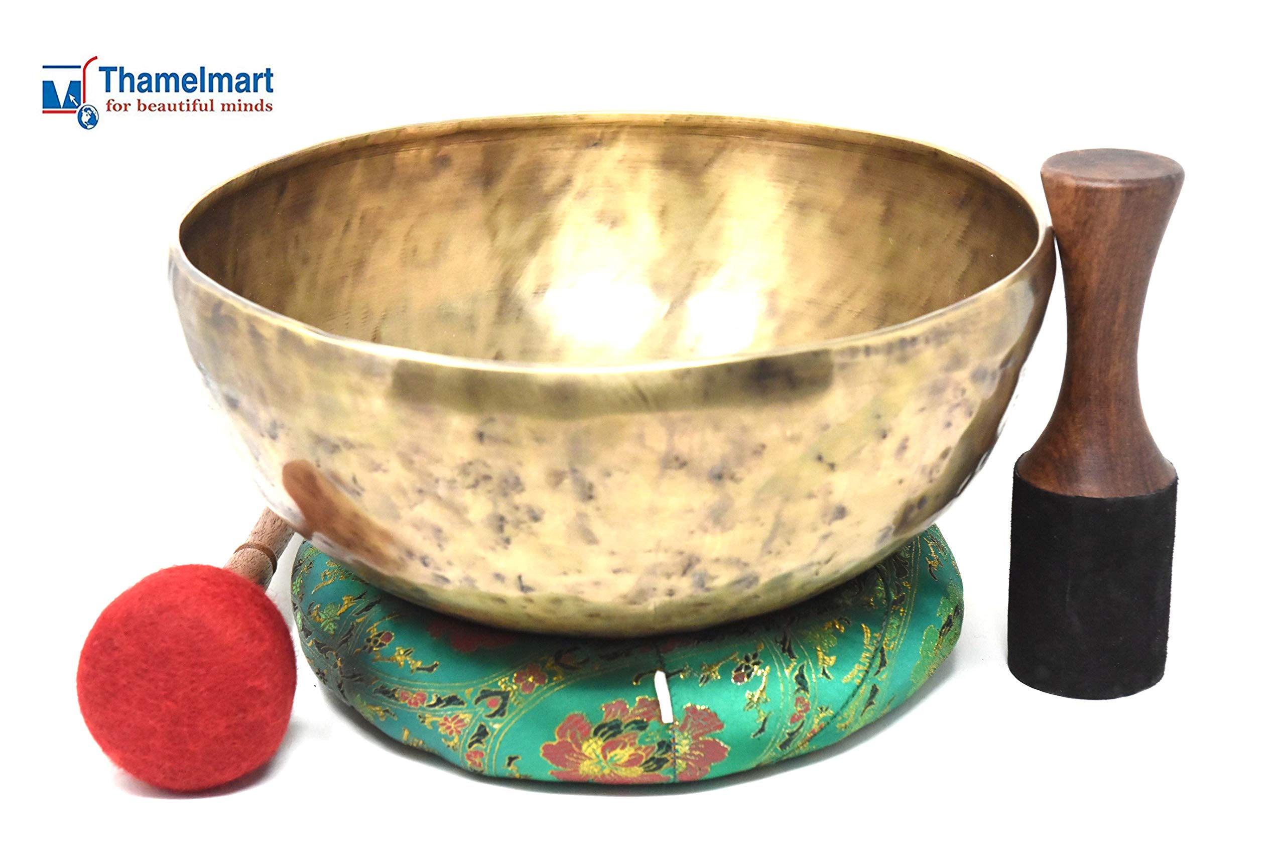 13.5'' Hand Hammered Tibetan Singing Bowl for Master Chakra Healing, Yoga, Meditation, Sound Bath & Mindfulness ~ Great vibration for Body Therapy~ Included Mallet, Silk Cushion and Drumstick