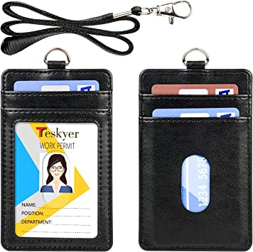 ID Badge Holder Wallet with Lanyard Metal Clip 1-4 Cards Vertical Business Lot 5