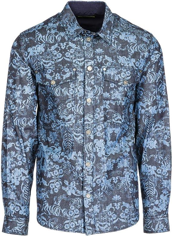 Versace Jeans Camisa Hombre BLU 48 EU: Amazon.es: Ropa y accesorios