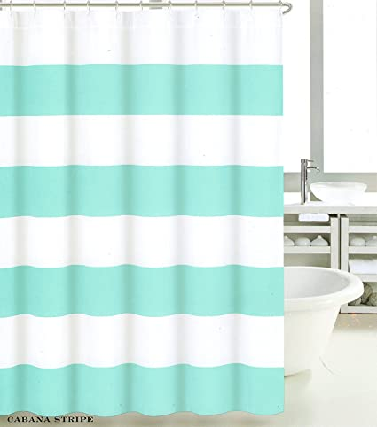 Amazon Max Studio Cotton Shower Curtain Wide Stripes Fabric
