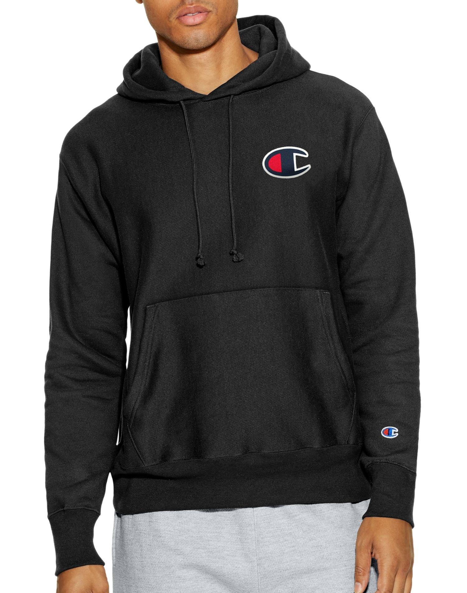 Champion LIFE Men's Reverse Weave Pullover Hoodie, Black/Big C Left Chest, X Large