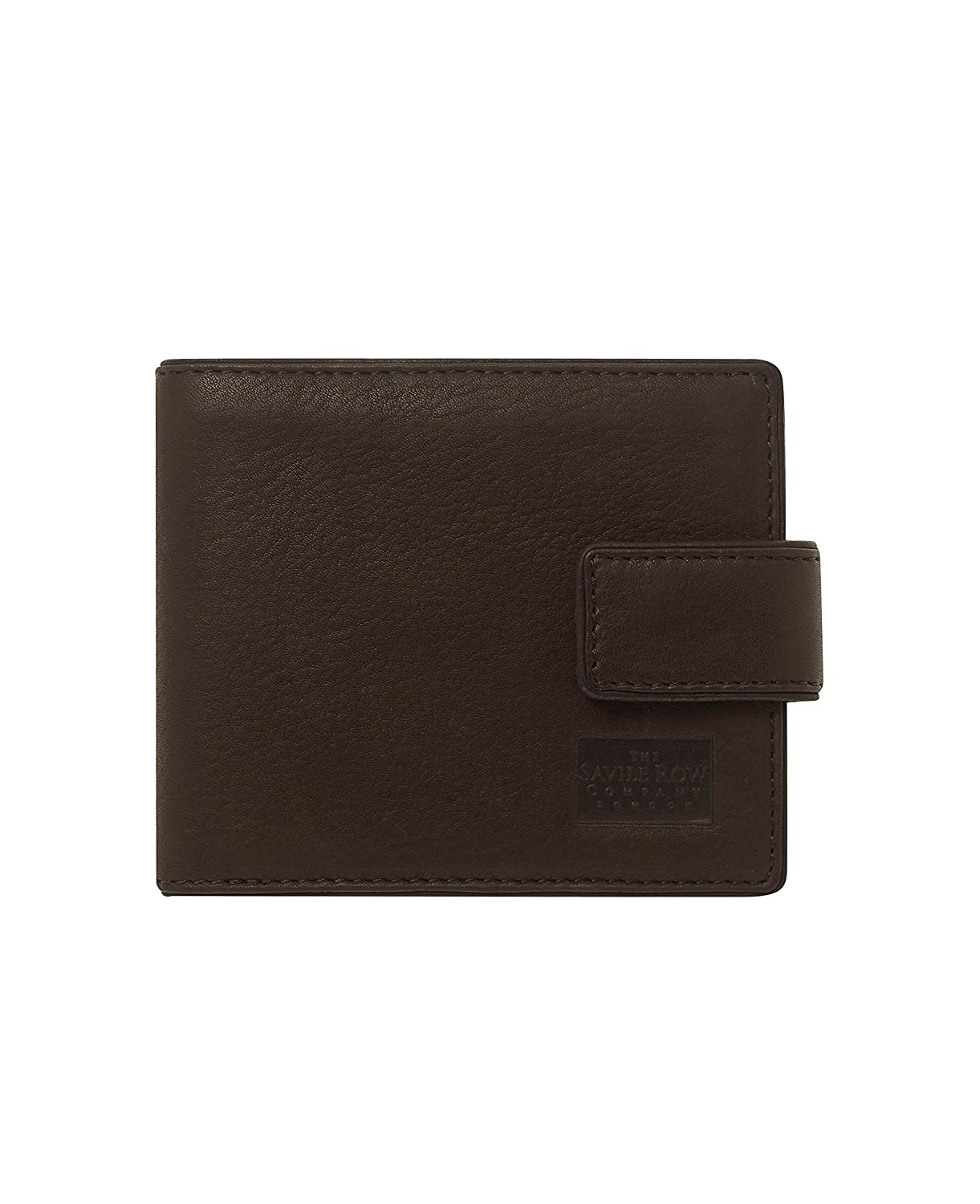 Savile Row Men's Chocolate Leather Classic Tab Coin Wallet The Savile Row Company London MLG907CHC000