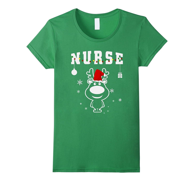 Nurse Christmas Gift with Santa hat Reindeer lights T-Shirt