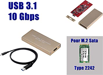 Kalea Informatique - Caja M2 a USB 3.1 (ancho de banda de 10 Gbps) para SSD M.2 NGFF al formato 2242 y SATA B Key (o B + M Key): Amazon.es: Electrónica