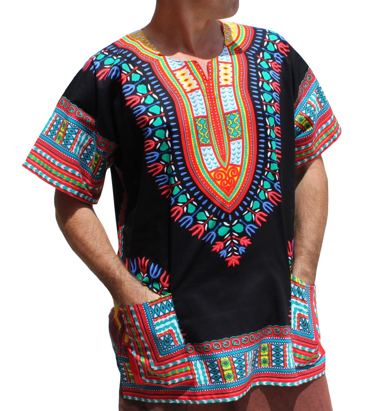 RaanPahMuang Unisex Bright Africa Black Dashiki Cotton Plus Size Shirt, XXX-Large, Red Mix