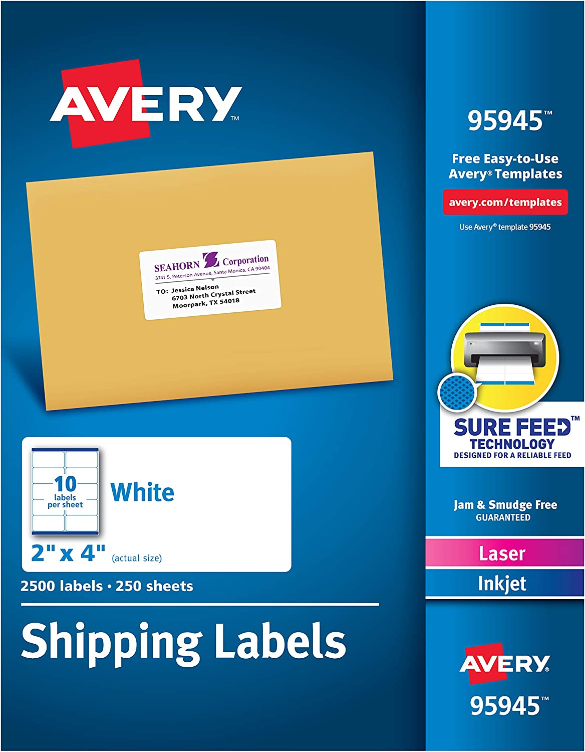 Avery Shipping Address Labels, Laser & Inkjet Printers, 2, 500 Labels, 2x4 Labels, Permanent Adhesive (95945), White : Office Products