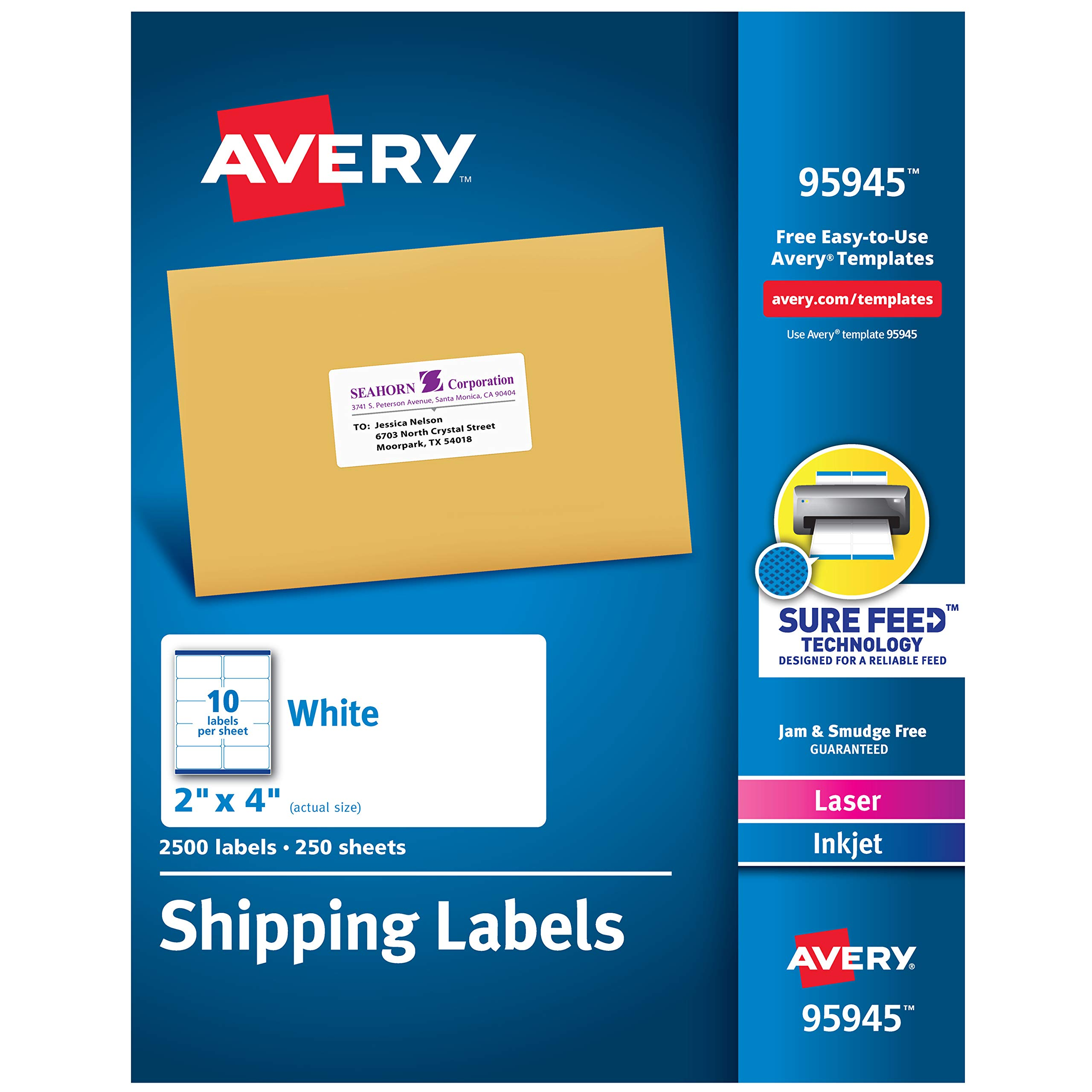 Avery Shipping Address Labels, Laser & Inkjet Printers, 2,500 Labels, 2x4 Labels, Permanent Adhesive (95945), White by AVERY