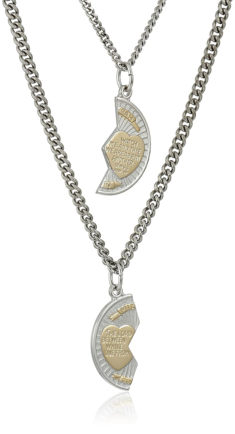 Sterling Silver Mizpah Medal Necklace with Stainless Steel Chains, 20 and 24 20 and 24 Amazon Collection AMZ308SC