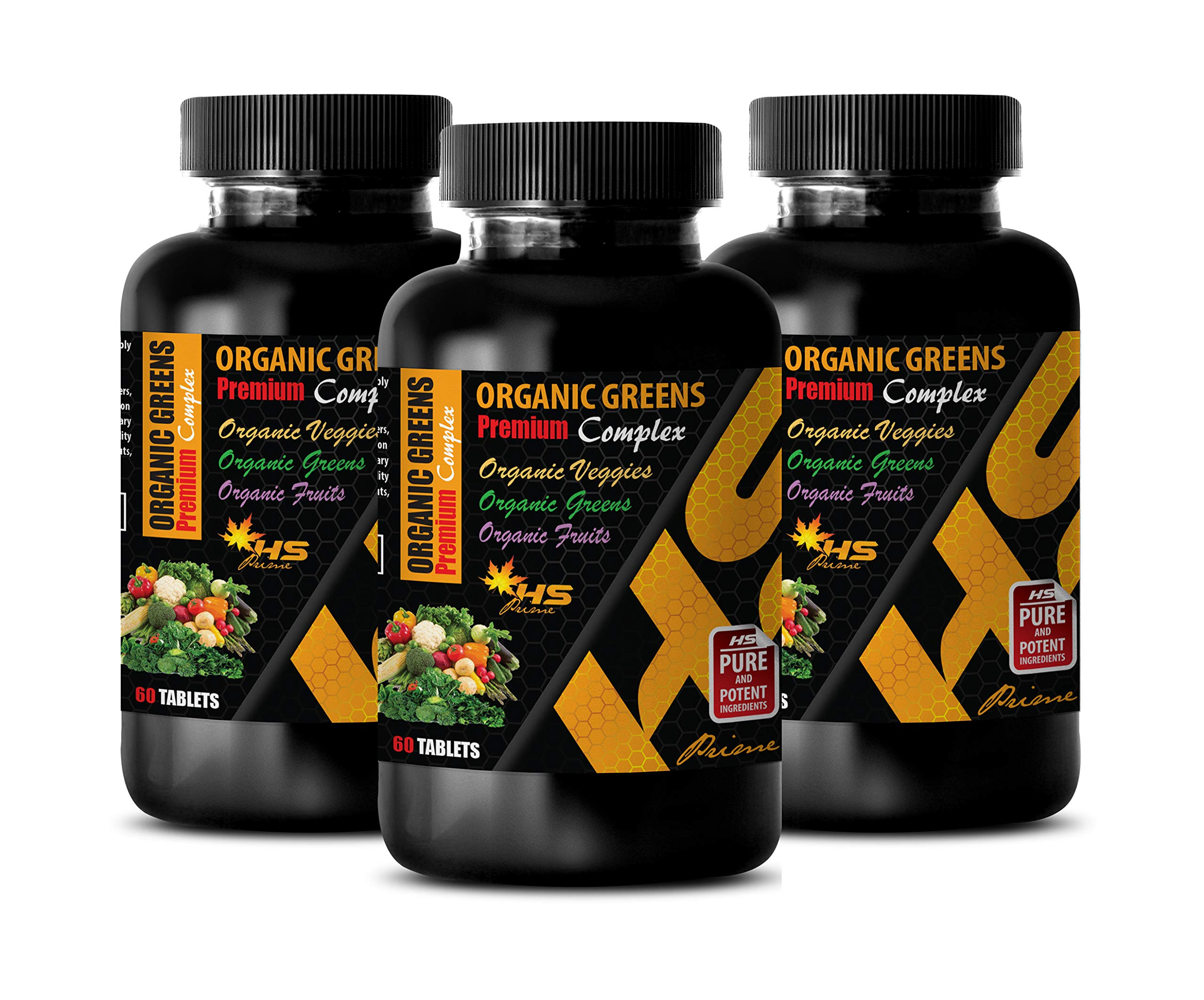 Cholesterol reducing Supplements - Organic Greens - Premium Complex - Garlic Supplement for Immune - 3 Bottles 180 Tablets