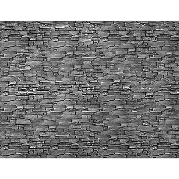 Fototapete Steinwand 3D Effekt Grau Vlies Wand Tapete Wohnzimmer  Schlafzimmer Büro Flur Dekoration Wandbilder XXL Moderne