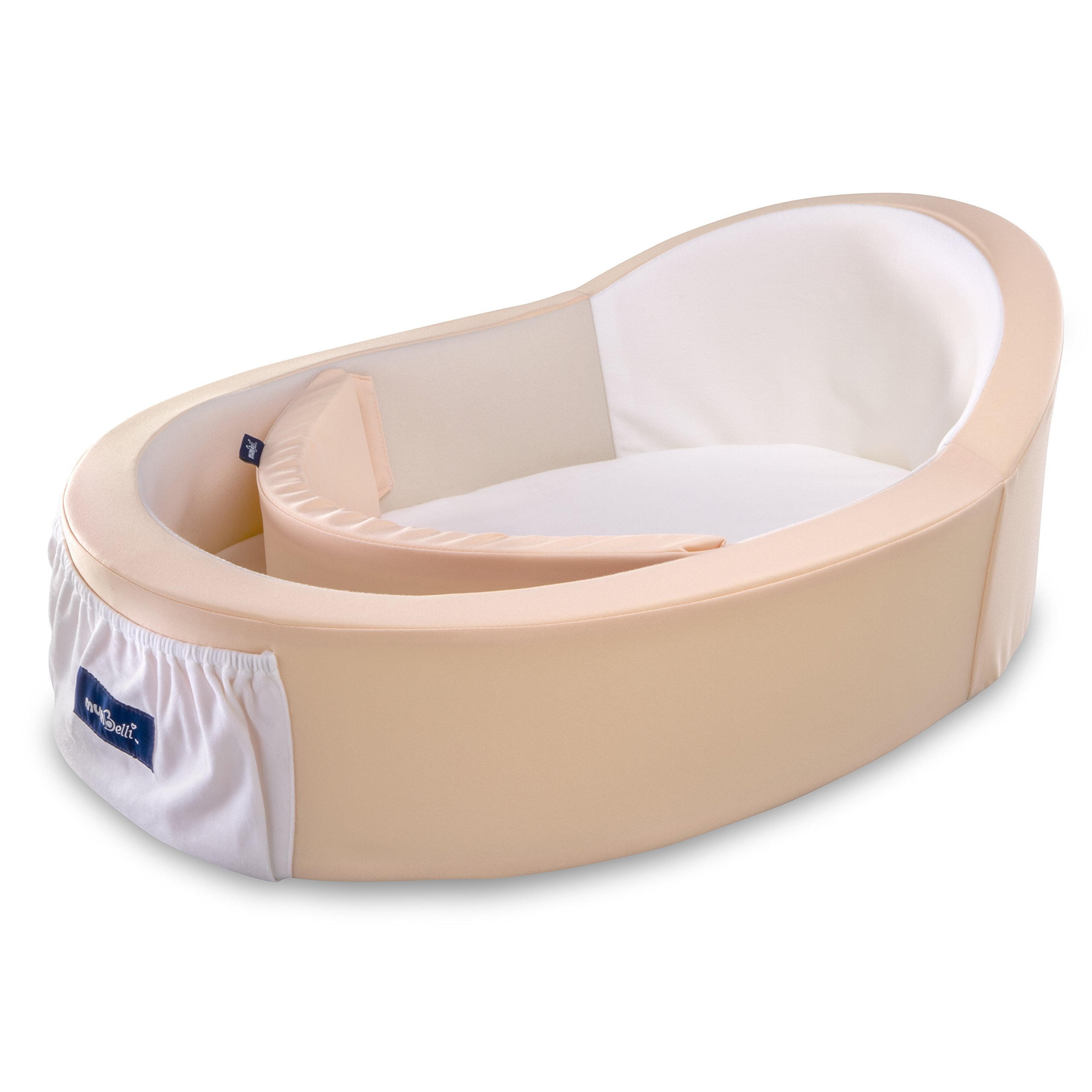 Mumbelli – The only Womb-Like and Adjustable Infant Bed; Patented Design (Peach). Light Weight for Easy Travel, Perfect for Lounging, Resting or co Sleeping. Reflux Wedge and Carry Bag Included.