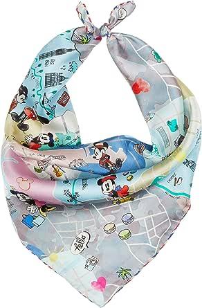 Codello aus Reiner Seide Mini Carré | Pequeño pañuelo de Seda Pura | Disney Edition con Mickey Mouse | 53 x 53 cm, gris claro, Talla única para Mujer
