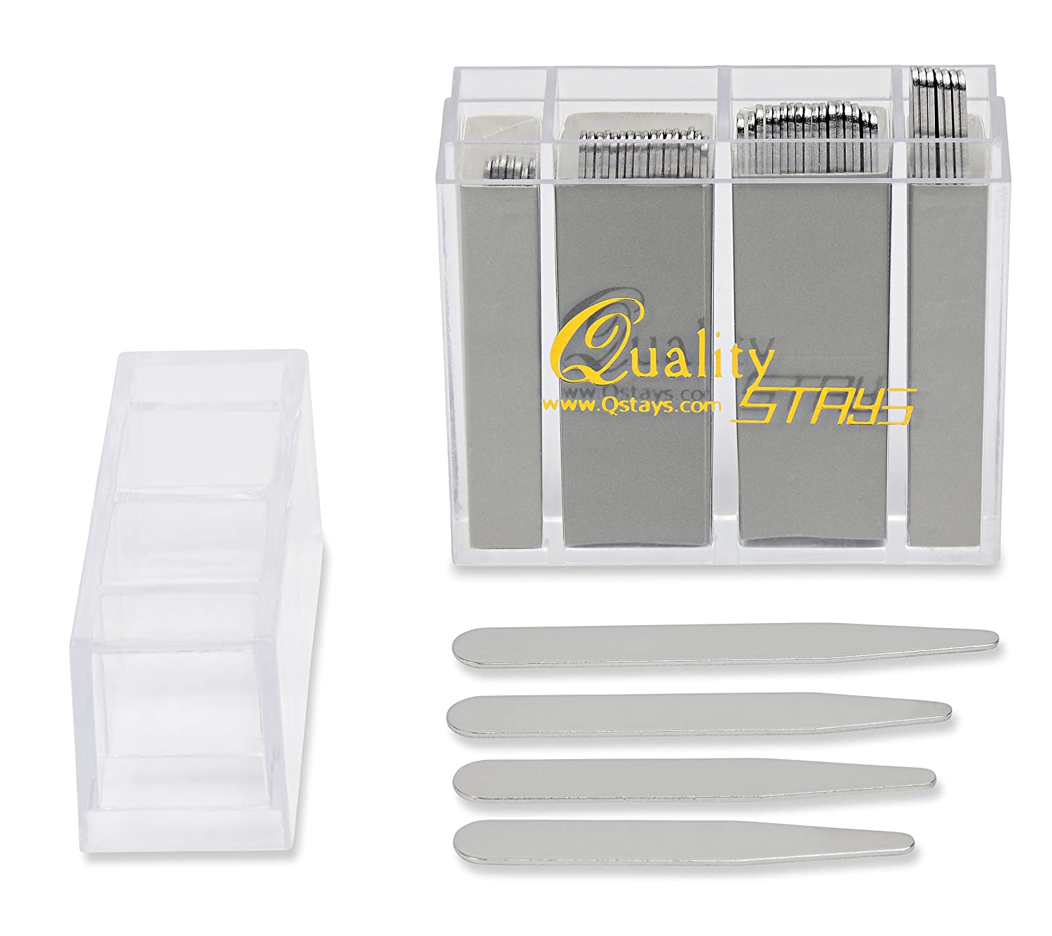 52 Top Quality Metal Collar Stays (Mixed Sizes) in a Divided Box CHIOINS