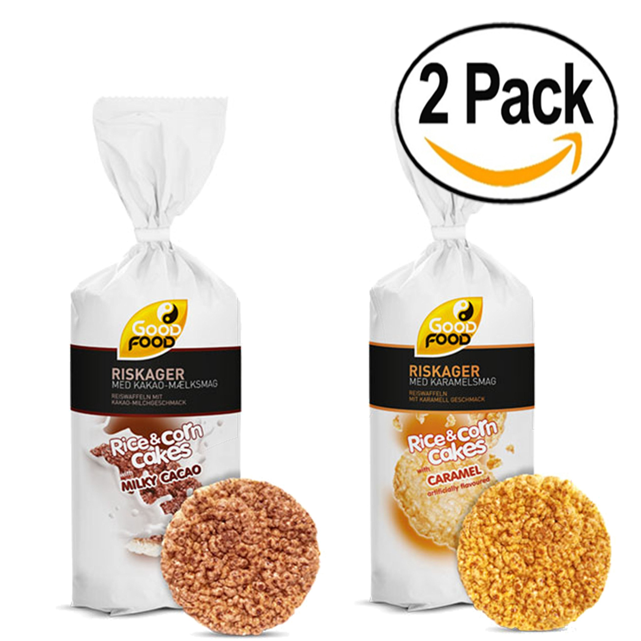 Good Food Chocolate Milk | Caramel Rice & Corn Cakes BUNDLE Pack of 2 5.11oz Each