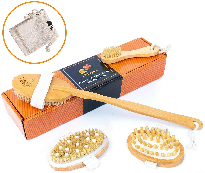 Dry Brushing Body Brush Kit (5-Piece Set) Natural Dry Brush, Exfoliating Face, Back, Arms, Legs Skincare – Boar Bristles, Massage Nodules, Cellulite & Lymphatic Scrubber – Bath & Shower Brush i Maples