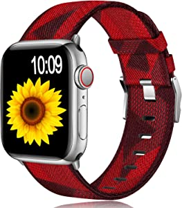 Muranne Fabric Bands Compatible for Apple Watch 38mm 40mm iWatch SE & Series 6 & Series 5 4 3 2 1, Dressy Adjustable Breathable Woven Canvas Watchbands Accessories for Women Men, Diamond Pattern Red