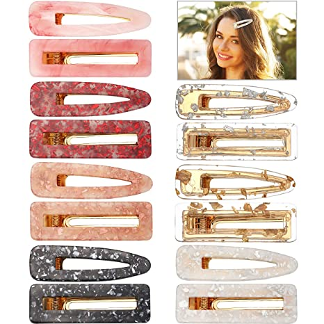 14 Pieces Acrylic Resin Hair Clip Barrettes Marble Geometric Hairpin Leopard Print Hair Clips For Women And Girls Hair Accessory (Style 2) by Geyoga