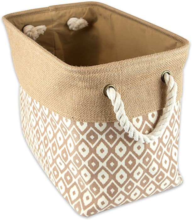 "DII Collapsible Burlap Storage Basket or Bin with Durable Cotton Handles, Home Organizational Solution for Office, Bedroom, Closet, Toys, & Laundry (Medium - 16x10x12""), Brown Ikat"