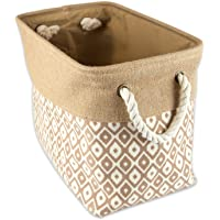 """DII Collapsible Burlap Storage Basket or Bin with Durable Cotton Handles, Home Organizational Solution for Office, Bedroom, Closet, Toys, Laundry (Small - 14x8x9""""), Brown Ikat"""