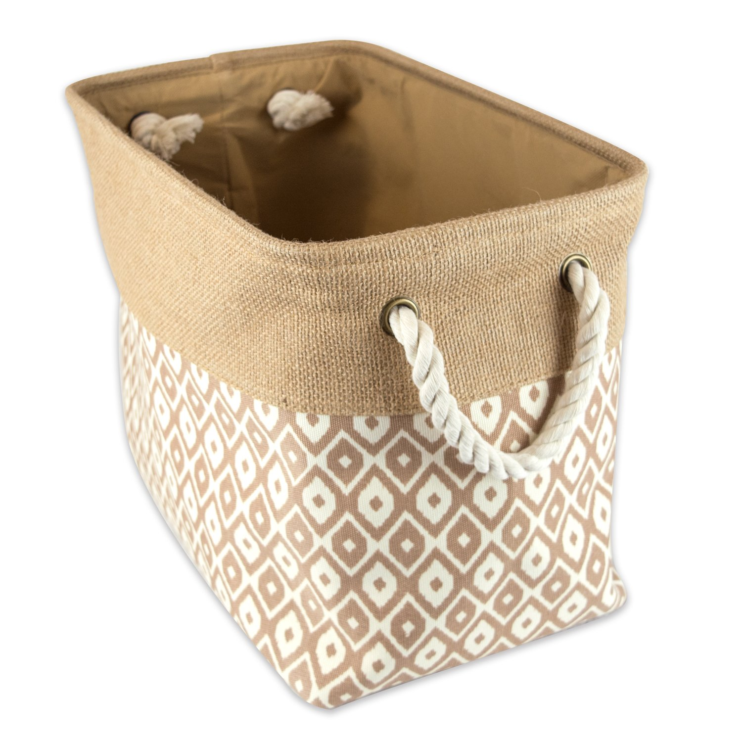DII Collapsible Burlap Storage Basket or Bin with Durable Cotton Handles, Home Organizational Solution for Office, Bedroom, Closet, Toys, & Laundry (Small - 14x8x9'), Diamond Bronze & Laundry (Small - 14x8x9) CAMZ37146
