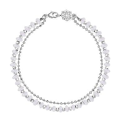 Dower & Hall Sterling Silver & Moonstone Bead Orissa Bracelet Q0kwnvM0i