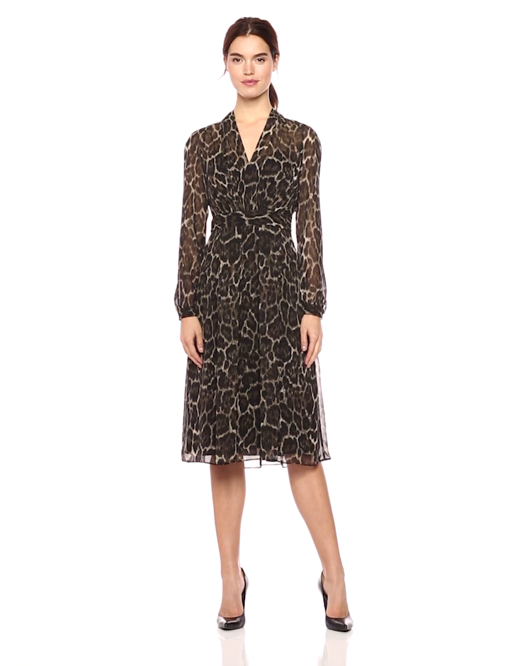 Anne Klein Womens Animal Print Long Sleeve Fit and Flare Dress at Amazon Womens Clothing store:
