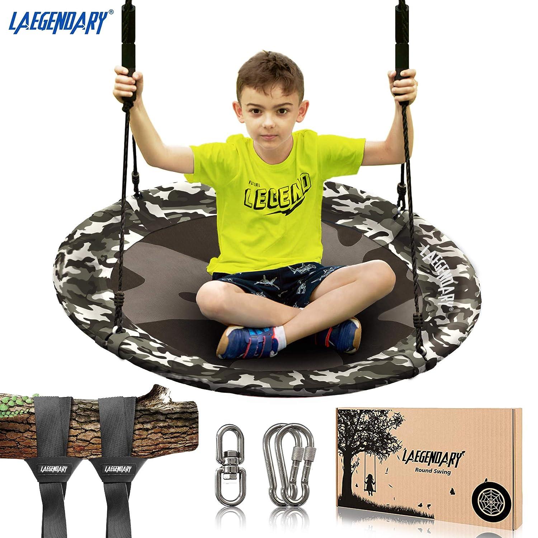 40 Inch Flying Saucer Tree Swing for Kids - Round Indoor Outdoor Swingset Toys - 450 Pounds Sensory Web Tire Swings - 2 Tree Straps, 2 Carabiners, 1 Swivel - Durable Frame, Waterproof Yard Swings Set