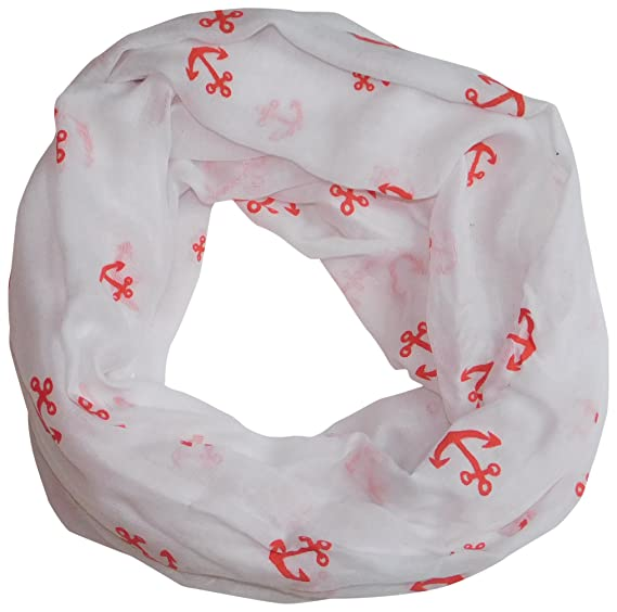 f091658470 Tickled Pink Women's Anchors Away Lightweight Infinity Scarf, White/Red One  Size