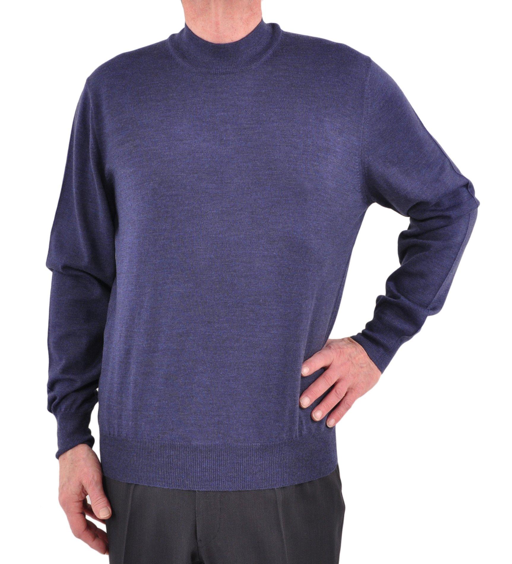 Gran Sasso Extrafine Merino Wool Mock Turtleneck Sweater Medium/Postman Blue by GranSasso (Image #2)